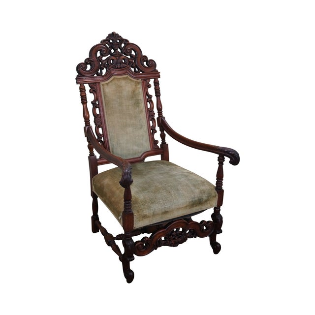 Antique 19th Century Heavily Carved Throne Chair For Sale - Antique 19th Century Heavily Carved Throne Chair Chairish