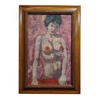 1950s Mid-Century Modern Nude Female Oil Painting For Sale