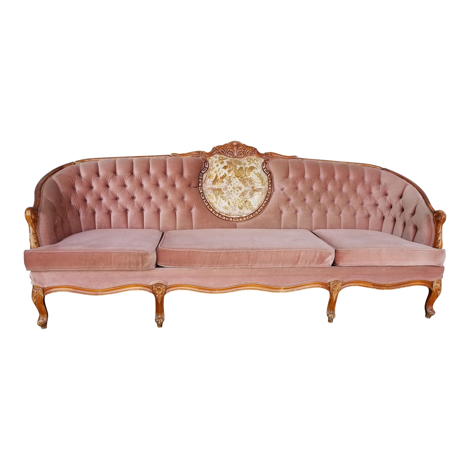 Vintage French Provincial Pink Velvet Couch  Hollywood Regency Rose