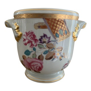 Mottahedeh Lowestoft Floral Rose and Gilt Large Cachepot Jardiniere For Sale