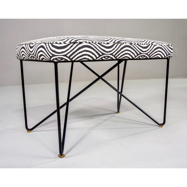 Italian Mid-Century Style Bench With Black Iron Hairpin Legs For Sale - Image 4 of 13