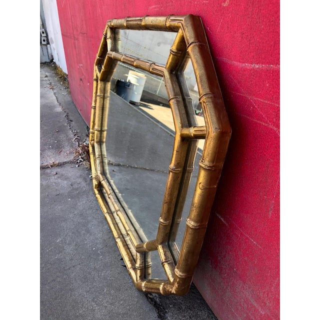 Hollywood Regency Gold Gilt Faux Bamboo Horizontal Vertical Wall Mirror For Sale In Sacramento - Image 6 of 9