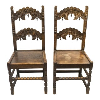 1880s Antique Jacobean Carved Chairs - a Pair For Sale