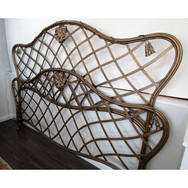 1990s Art Nouveau Iron Bow and Tassel King Bedframe For Sale - Image 4 of 11