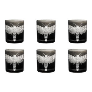 Cabinet of Curiosities Double Old Fashioned Glasses, Set of 6 Butterfly, Smoke For Sale