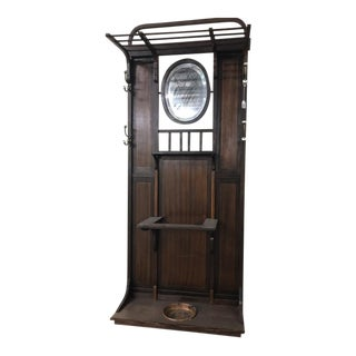 Antique Mahogany Hall Tree With Bevel Mirror For Sale