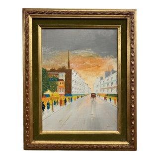 1960s Town Sunset Scene Oil Painting, Framed For Sale