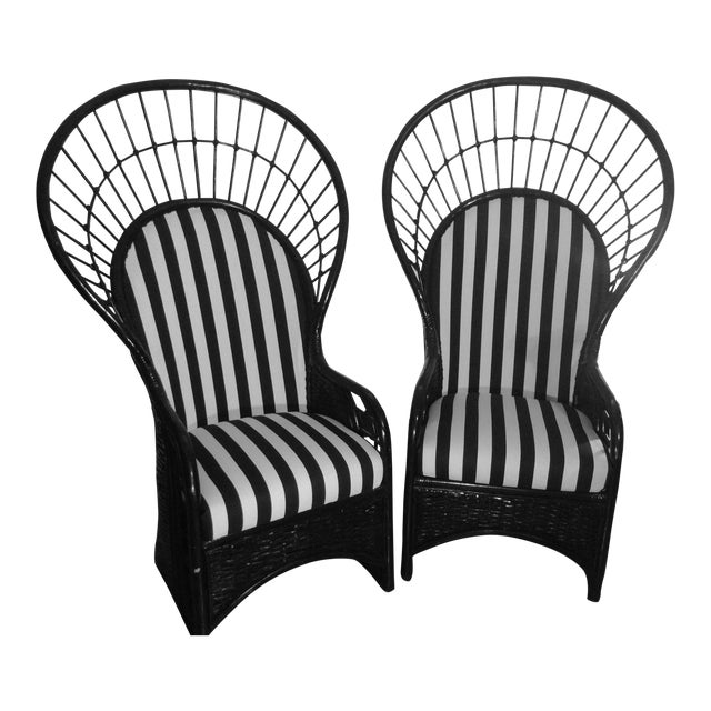 Mid-Century Rattan Wicker Peacock Fan Back Throne Chairs -A Pair For Sale