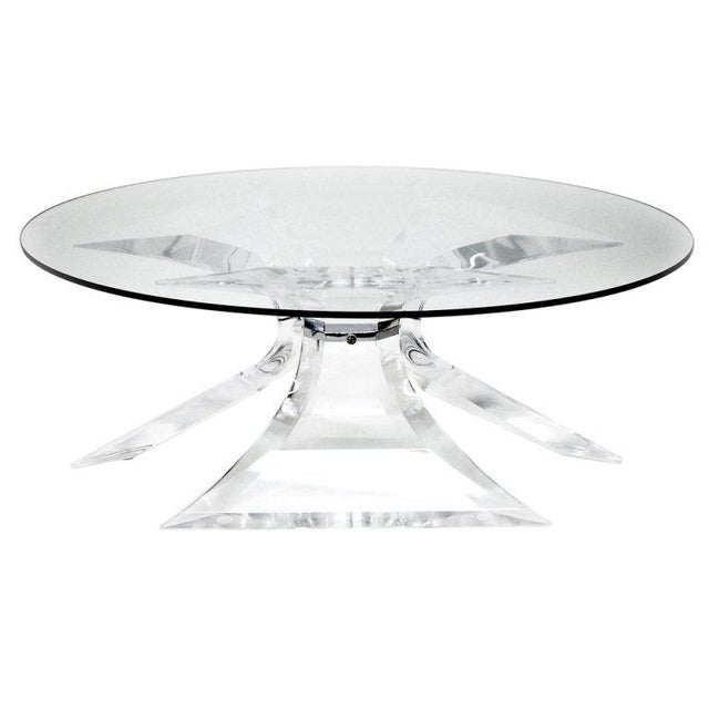 Metal 1970s Hollywood Regency Frost Lucite Coffee Table With Chrome Center For Sale - Image 7 of 7