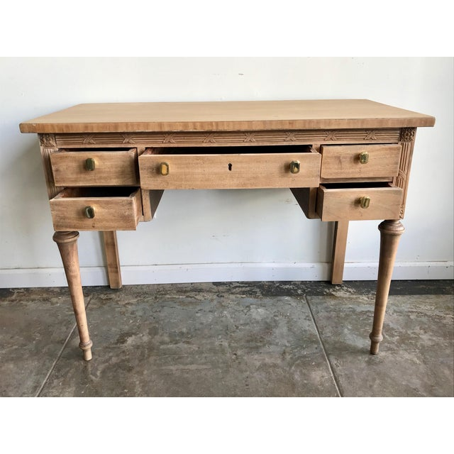 1930s French Stripped Mahogany Carved Wood Writing Desk ...