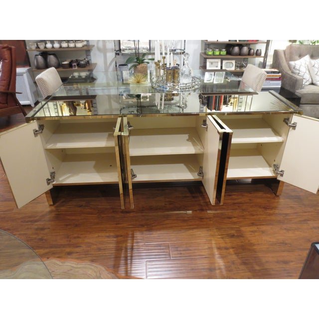 Vintage Ello Bronze Mirror Buffet with Brass Trim - Image 5 of 6