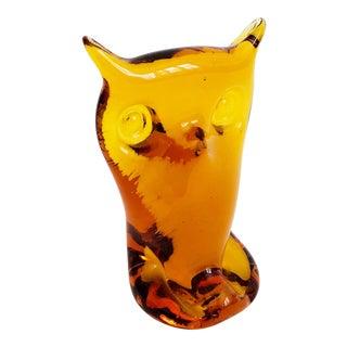 Mid Century Orange Art Glass Owl For Sale
