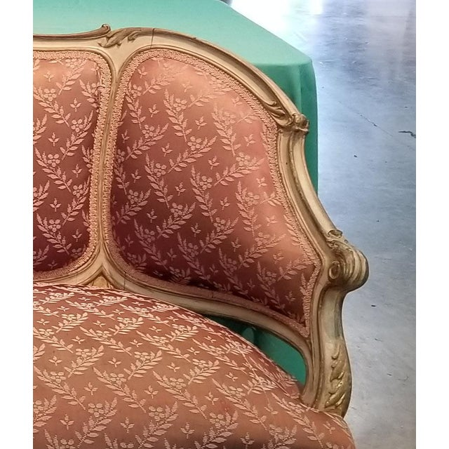 Vintage French Provincial Louis XVI Rose Settee Rococo Canape Loveseat For Sale - Image 10 of 11
