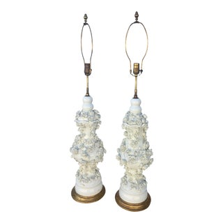 Mid 18th Century Antique Blanc De China Porcelain Lamps With Raised Flowers - a Pair For Sale