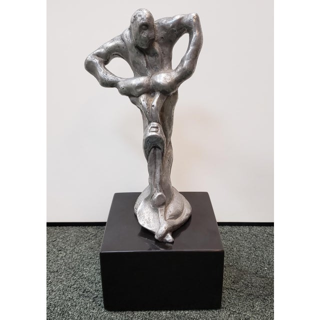 Metal Brutalist Man Pushing Plow Pewter Sculpture on Granite Base (Illegibly Signed) (Limited Edition #4/25) (1976) For Sale - Image 7 of 7