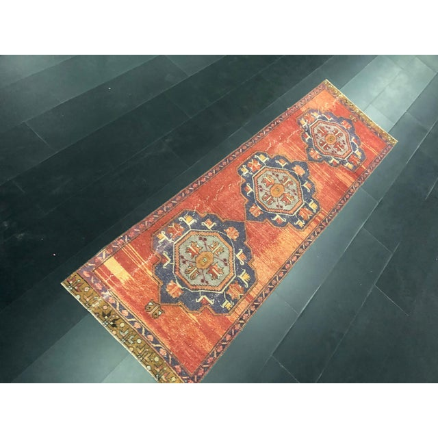 Boho Chic Boho Decorative Orange and Purple Turkish Handmade Vintage Runner Rug For Sale - Image 3 of 11