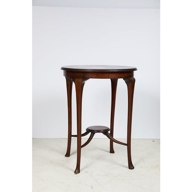 English Art Nouveau Round Tea Table of Mahogany For Sale - Image 13 of 13