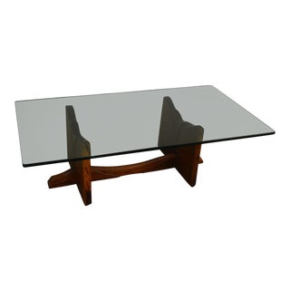 Robert Whitley Mid Century Studio Crafted Walnut Glass Top Coffee Table For Sale