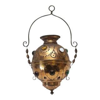 Vintage Brass Jeweled Incense Burner