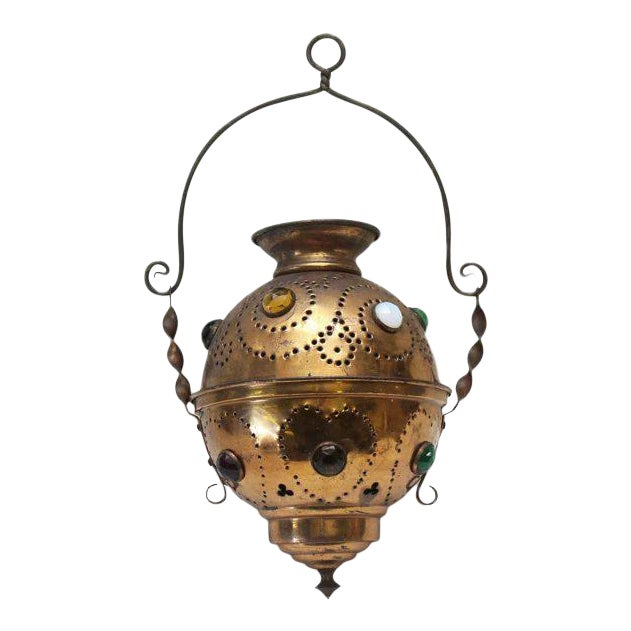 Vintage Brass Jeweled Incense Burner - Image 1 of 11