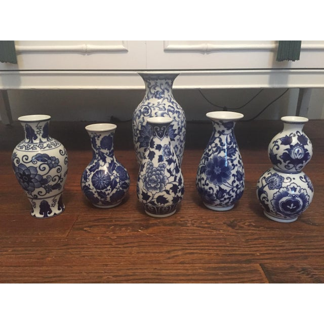 Set Of 6 Blue And White Chinoiserie Vase Collection Chairish