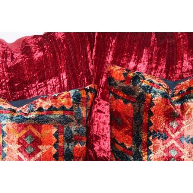 Amazing Red Silk Velvet and Multicolored Pattern Velvet Pillows For Sale - Image 4 of 4
