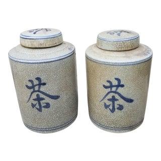 Pair Chinese Tea Storage Jars For Sale