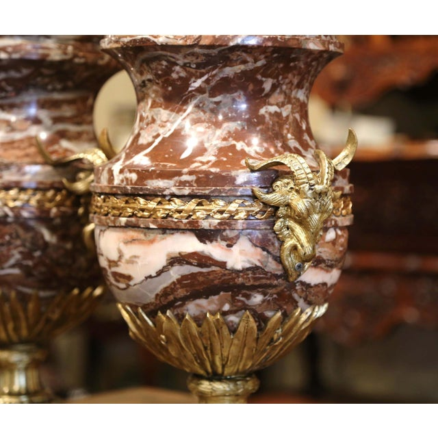 White 19th Century French Carved Variegated Marble and Bronze Cassolettes-A Pair For Sale - Image 8 of 12