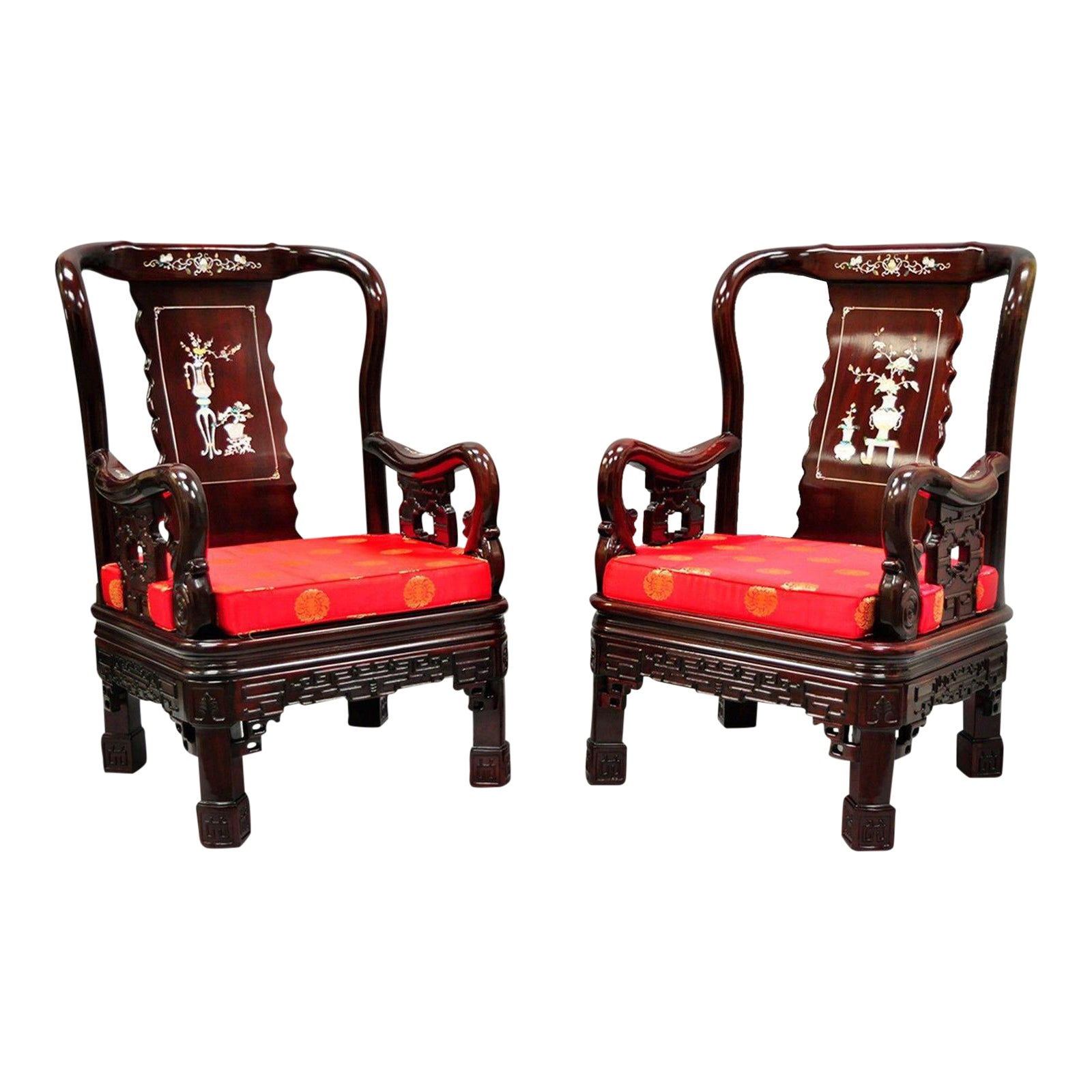 Pair of Oriental Chinese Throne Lounge Chairs Living Room Mop Inlaid ...