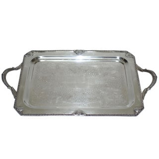 Early 20th Century Silverplate Drinks Tray For Sale