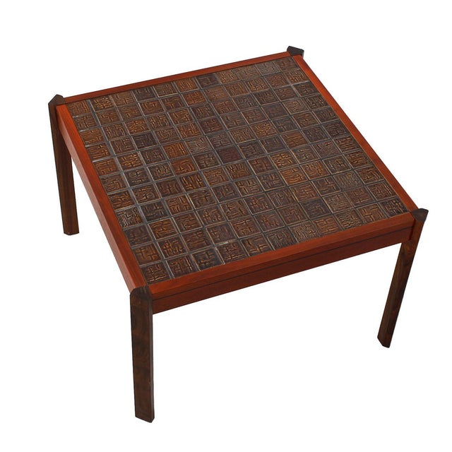 Red Danish Modern Accent Table with Tile Top For Sale - Image 8 of 8