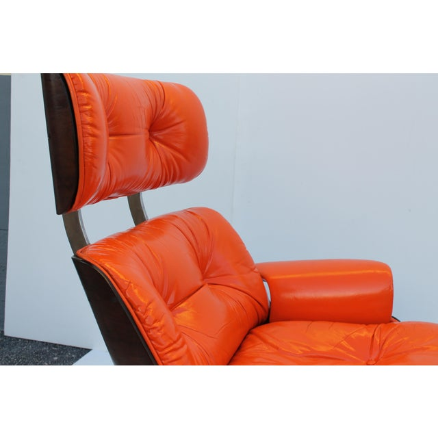 Mid-Century Modern Orange Leather Recliner - Image 8 of 11