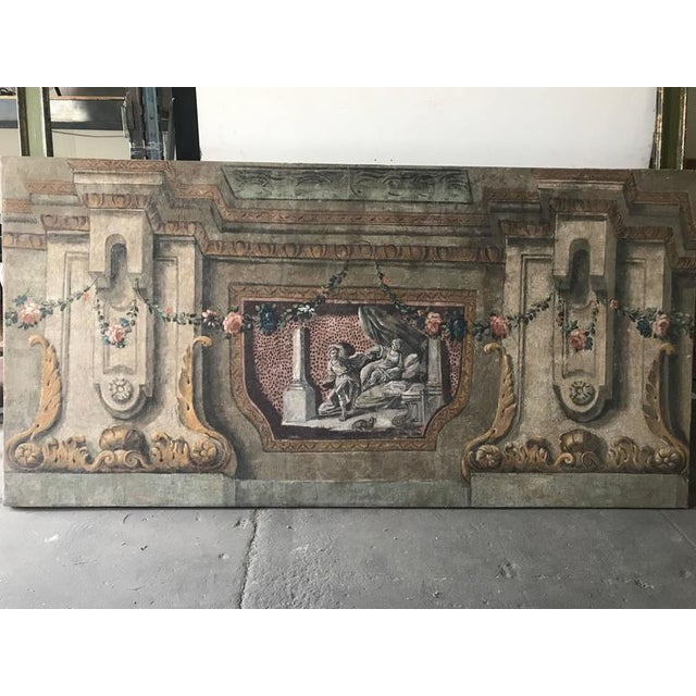 Rare Set of Four Italian 18th Century Panels, Gouache on Canvas For Sale - Image 4 of 11