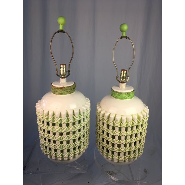 Vintage 1960s White and Green Ceramic Lamps - a Pair For Sale - Image 10 of 10