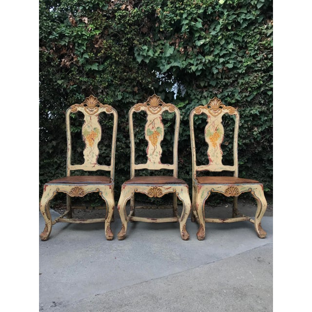 Late 18 C. Italian Carved and Handpainted Chairs - Set of 3 For Sale In Los Angeles - Image 6 of 13