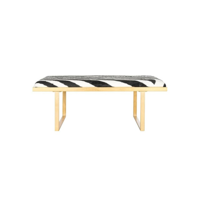 Hollywood Regency Zebra Gold Coffee Table For Sale - Image 4 of 4