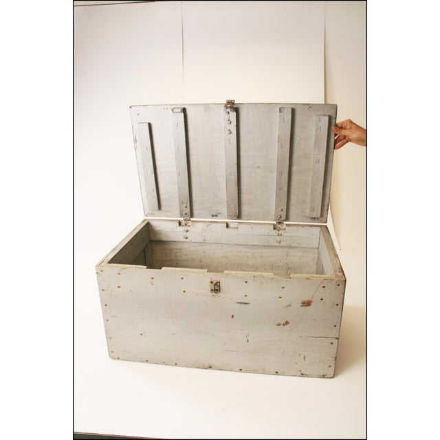 Vintage Industrial Wood Gray Military Storage Chest - Image 8 of 11