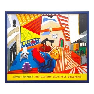 "David Hockney Rare Vintage 1988 "" Montcalm Interior at Seven O' Clock "" Iconic Framed Lithograph Print Collector's Pop Art Poster For Sale"