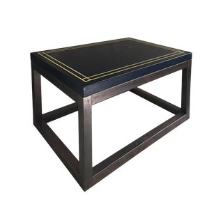 Midcentury Rectangular Side Table With Navy Lacquered Top and Bronze Base For Sale