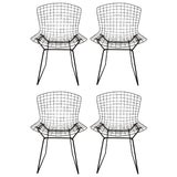 Image of 1960s Vintage Original Harry Bertoia for Knoll Black Wire Side Chairs- Set of 4 For Sale