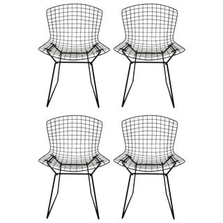 1960s Vintage Original Harry Bertoia for Knoll Black Wire Side Chairs- Set of 4 For Sale