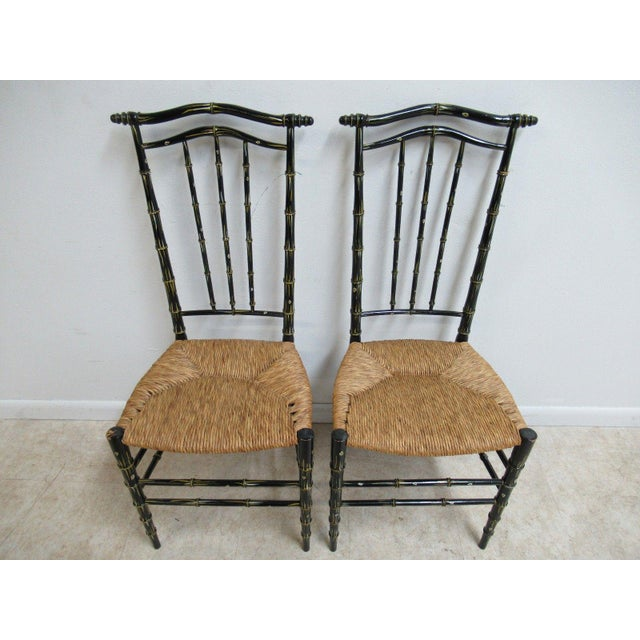 Vintage Faux Painted Bamboo Rush Seat Side Chair - A Pair For Sale In Philadelphia - Image 6 of 10