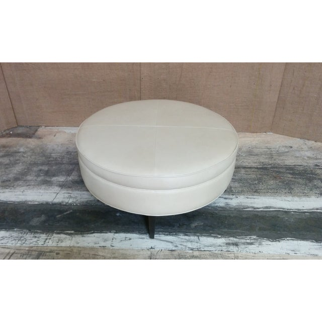 Leather Ottoman Kravet Leather Rushmore-Putty - Image 4 of 7