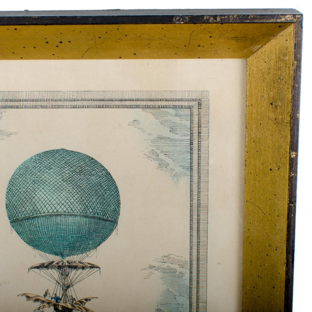 Hot Air Balloon Antique Hand-Colored Lithograph by Charles Dupont For Sale - Image 4 of 4