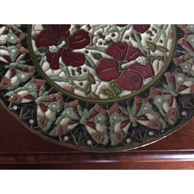 Cloisonné Hand Painted Floral Butterfly Cloisonné Decorative Plate For Sale - Image 7 of 11