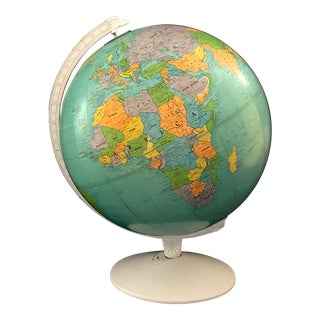 1970s Vintage Blue Replogle Table Globe With White Base For Sale