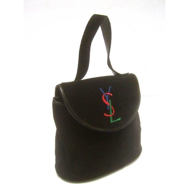 Yves Saint Laurent Yves Saint Laurent Chic Black Suede Ysl Embroidered Handbag C 1990s For Sale - Image 4 of 8