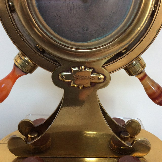 Nautical Agate & Brass Nautical Barometer For Sale - Image 3 of 10