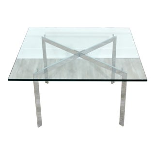 1970s Mid Century Modern Bennett Geiger Square Chrome Glass Coffee Table X Base For Sale