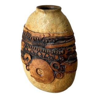Brutalist Mid Century Stoneware Vase by Bernard Rooke For Sale
